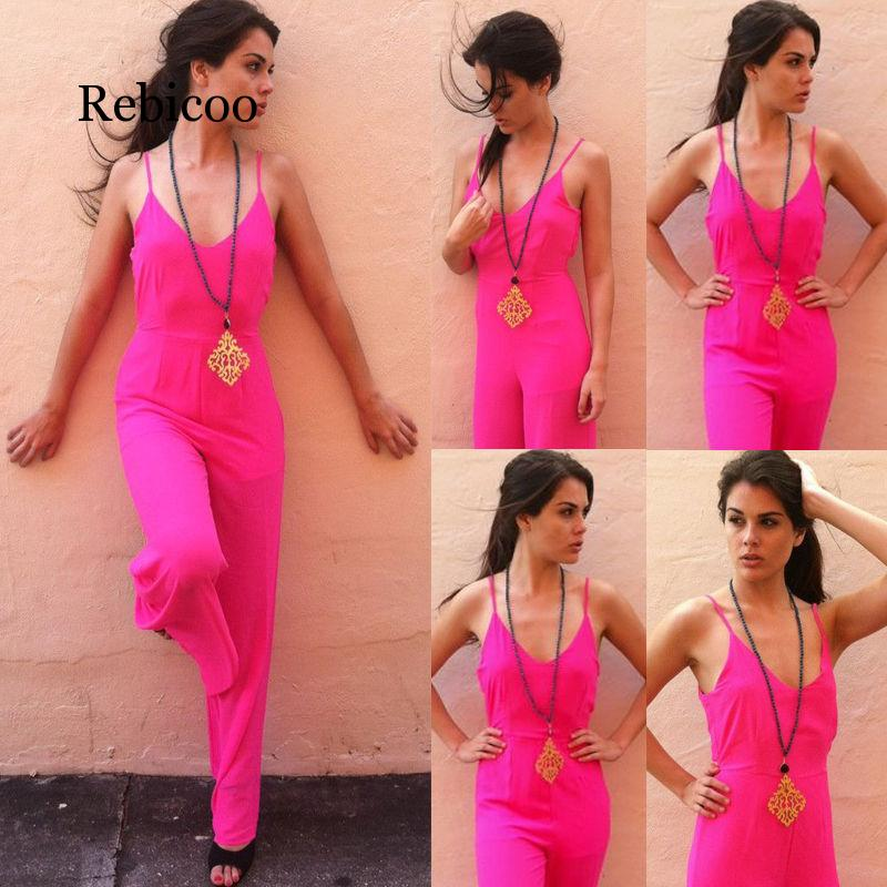 Ladies Spaghetti Bandwidth Leg Jumpsuit V neck Jumpsuit 3 Color in Jumpsuits from Women 39 s Clothing