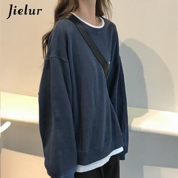 Jielur 2021 New Kpop Letter Hoody Fashion Korean Thin Chic Women's Sweatshirts Cool Navy Blue Gray Hoodies for Women M-XXL 5