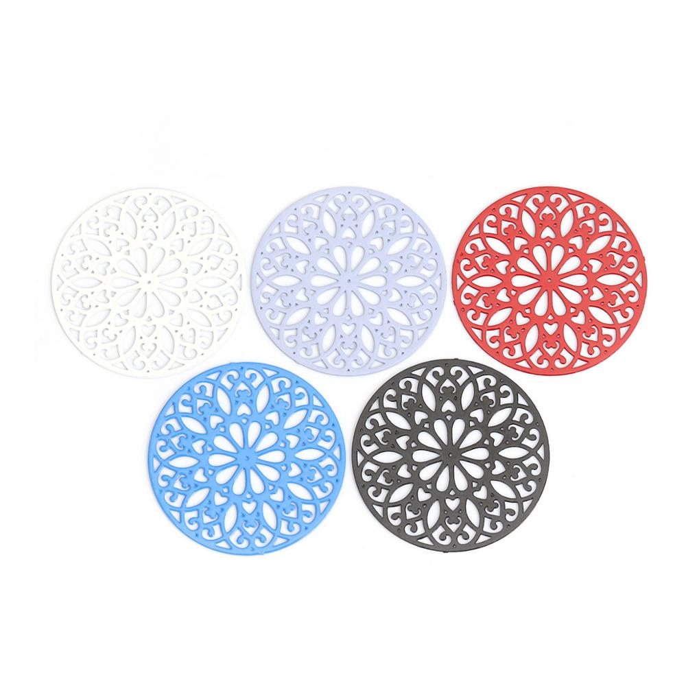 DoreenBeads Fashion Copper Connectors Round Black Blue Red White Flower Hollow Jewelry DIY Findings Charms 25mm Dia., 10 PCs