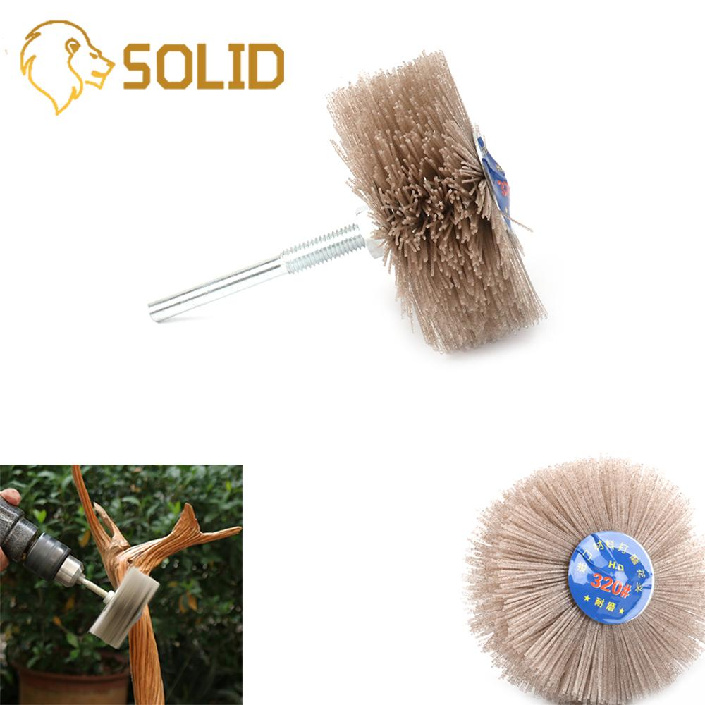 80MM Abrasive Nylon Wheel Brush Wear-resistant Brush For Wood Furniture Mahogany 80# Shank 6MM 2Pcs/Set