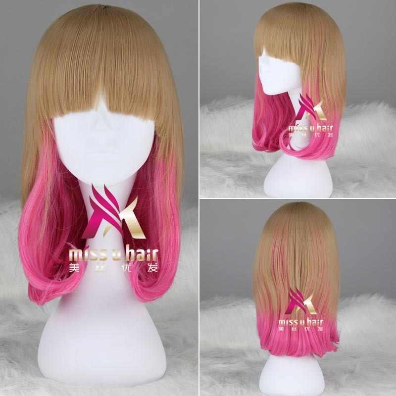 Hot Bob Pendek Wig dengan 2 Cakar Ekor Kuda Rambut Ekstensi Coklat Berwarna Merah Muda Ombre Sintetis Rambut Cosplay Lolita Wig untuk Wanita heatresistant