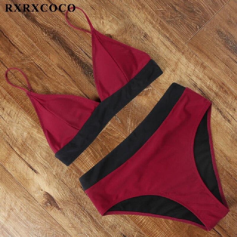 RXRXCOCO Bikinis 2020 Womens Swimsuit Solid Wine Red Swimwear Women Bathing Suit Army Green Bikini Set Beach Wear Swimsuit Women