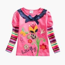 цена на Girls Long Sleeve T-Shirt Cotton Autumn New Girls for Kids Wear Comfortable Breathable Girls Long Sleeve Top T-Shirt F5619D