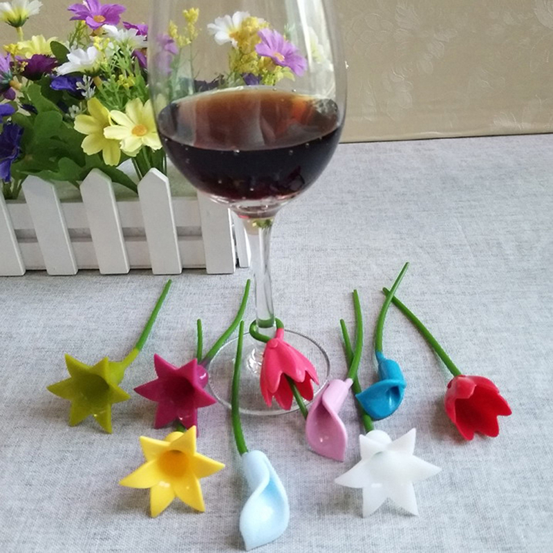 6pcs Flowers Wine Cup Marker Silicone Label Party Dedicated Glass Cup Recognizer Tools For Wine Glass (Random)
