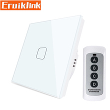 EU/UK Standard Wireless Remote Control Touch Switch,1 Gang 1 Way RF433 Wall Light Switch For Smart House Free shipping