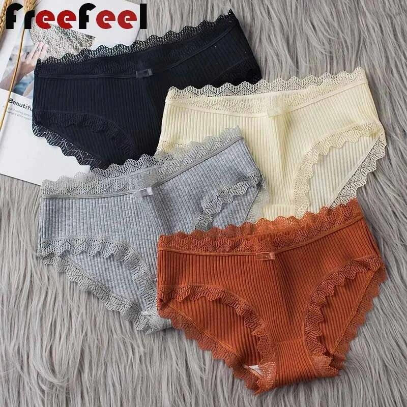 3Pcs/Set Women Cotton Panties Comfortable Underwears Sexy Middle-Waisted Underpants Plus Size Female Panties Ladies Briefs M-XL