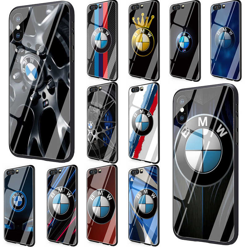 BMW logo Tempered Glass Phone Cover Case for Huawei Y6 Y9 Honor 8X 10 7A P10 20 Mate20 Lite Pro