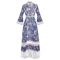 HIGH QUALITY New Fashion 2020 Runway Dress Women's Flare Sleeve Lace Embellished Charming Floral Print Long Dress