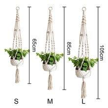 2/4 pçs macrame planta cabide vaso de flores planta titular 4 pernas corda pendurado dss899