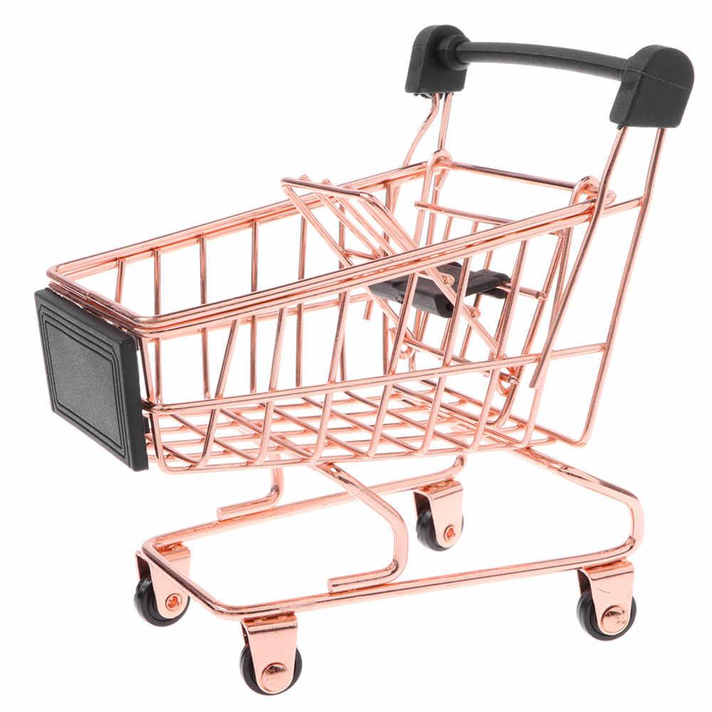 Estante de Almacenamiento de Metal Inoxidable para decoraci/ón de Escritorio Mini Carrito de la Compra Cesta de Almacenamiento para Maquillaje ANNIUP Carrito de supermercado