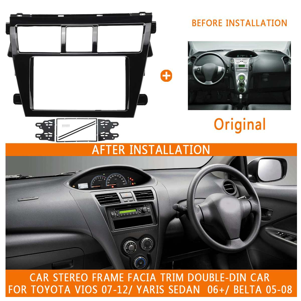 Single Din Car CD Stereo Fascia Facia Fitting Kit for Toyota Yaris 2007 On