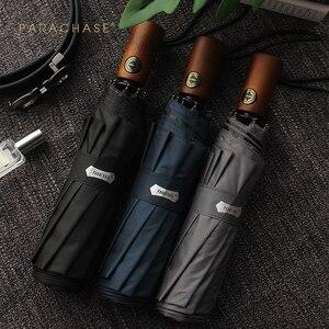 Image 2 - Parachase Automatic Umbrella Men Business 10 Ribs Wood Handle Golf Sun Umbrellas Windproof Anti UV Parasol Clear Umbrella UPF50+