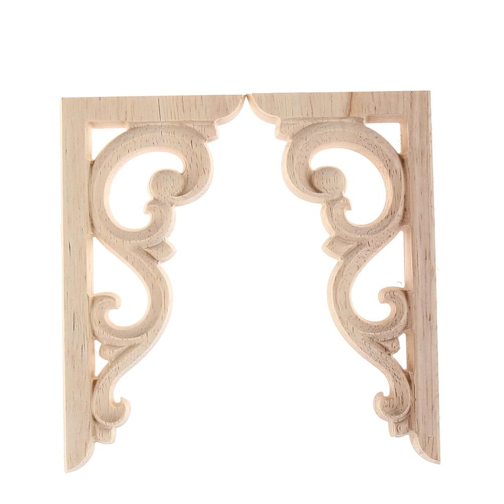 2pcs Vintage Unpainted Wood Carved Corner Onlay Applique Frame For Home Furniture Wall Cabinet Door Decor Crafts 12*6cm