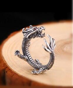 Image 3 - Prata pura esterlina 925 prata retro dragão abertura ajustável s925 anel (hy)