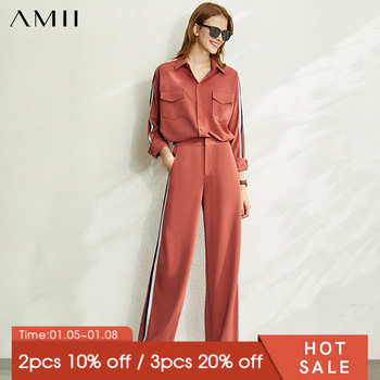 AMII Minimalism Autumn Fashion Women Set Spliced Lapel Shirt Tops High Waist Loose Pants Female Suit  12020879 - discount item  45% OFF Women's Sets