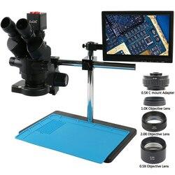 Simull Focal Trinocular mikroskop stereo 3.5X 7X 45X 90X 1080p HDMI kamera wideo vga wyświetlacz LCD do naprawy naprawy telefonu lutowania w Mikroskopy od Narzędzia na