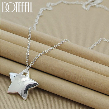 DOTEFFIL Genuine 925 Sterling Silver Star Pendant Necklace 18 inches Chain Fashion Jewelry Necklace For Women Hot Sale bamoer fashion genuine 925 sterling silver cute pet pussy cat chain pendant necklace for women sterling silver jewelry scn232