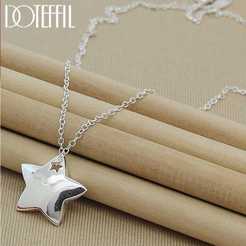 Doteffil本物の 925 スターリングシルバースターペンダントネックレス 18 インチチェーンファッションジュエリーのネックレスホット販売