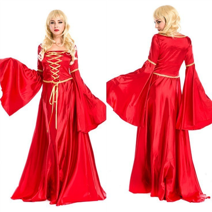 High-quality Adult Historical Themed Noble Lion Queen Women's Halloween Cosplay Costume Bright Red Fancy Dress For Adult