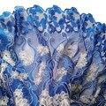 Свадебное синее Африканское кружево с вышивкой камнями, нигерийская кружевная ткань 2021, высококачественное кружево, швейцарская кружевная...