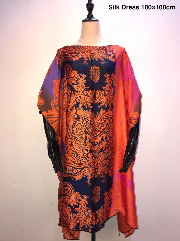 Elegant Italian Silk Kaftan Short dresses top fashion Printed African Women's party dresses African dresses for women