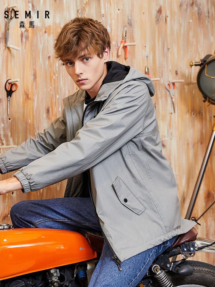 Semir Men Windbreaker Hooded Jacket Man Spring And Autumn Models Korean Trend Irregular Personality Multi-pocket Outwear