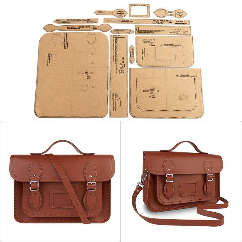 1 ensemble papier Kraft cuir sac à bandoulière Cambridge sac modèle maison travail manuel cuir artisanat couture modèle outils 28cm * 19cm * 7.5cm