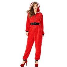 Costume Onesies Hooded-Jumpsuit Cosplay Christmas Adult Women Umorden for Fleece Xmas