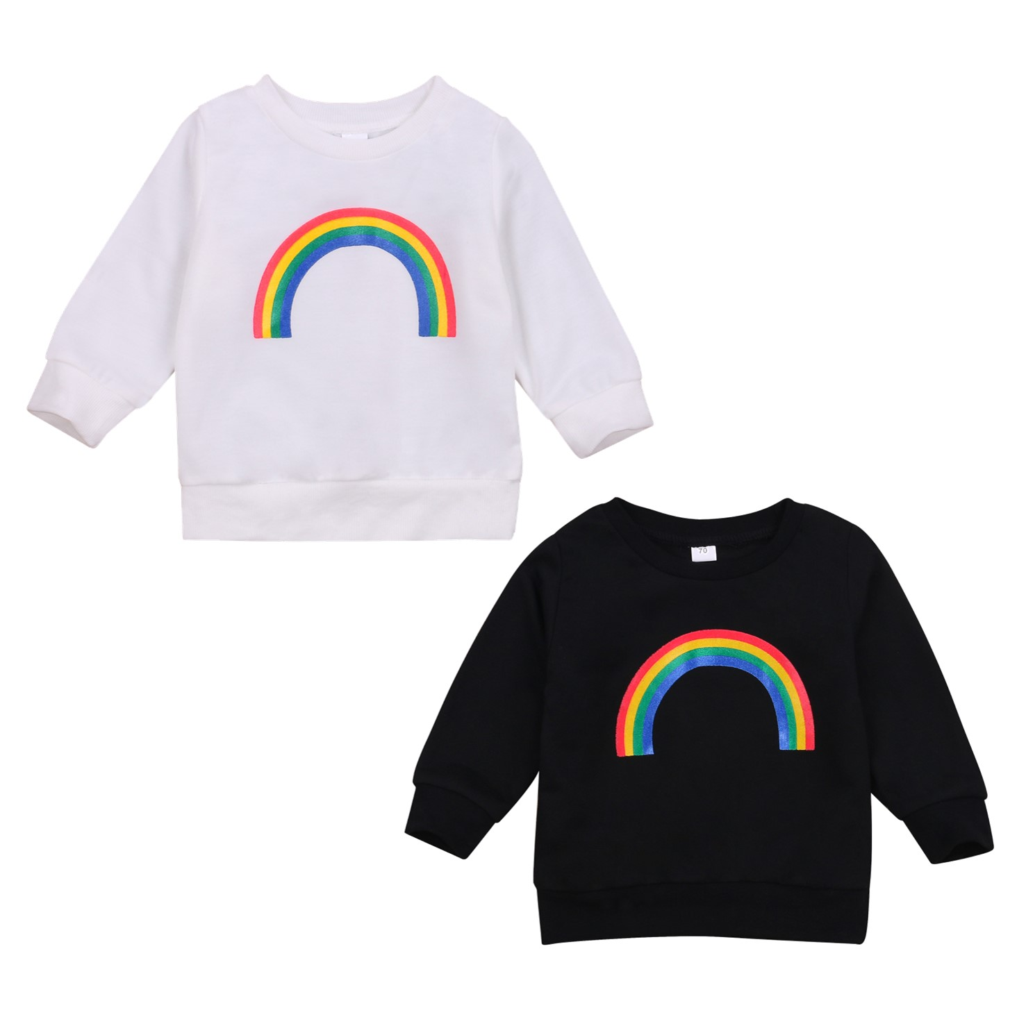 Pudcoco 2020 Autumn 0-3Y Toddler Baby Girl Boy Rainbow Pattern Print Long Sleeve Sweatshirt Infant Outfit Clothes White/Black 1