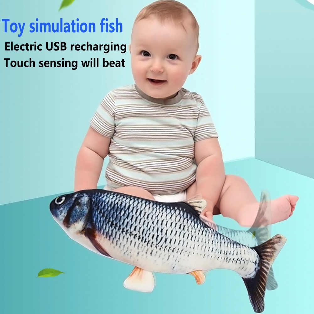 Fishy Plushie Toy Rechargeable with USB Cable Provided Carp Funny Automatic Flopping Realistic Fish Stuffed Animal for Toddlers Toydaze Moving Fish Motion-activated Plush Interactive Toys for Kids