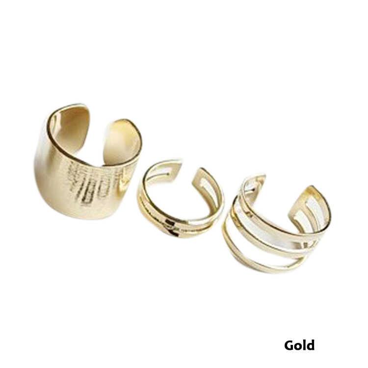 Moda 3 unids/set estilo Punk pila banda plana medio dedo nudillo anillos conjunto Color oro plateado anillo-0221