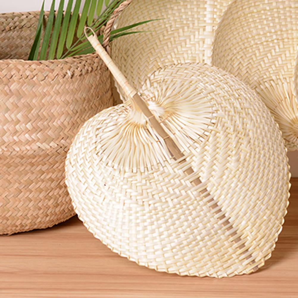 Pure Handmade Cool Fan DIY Heart Shaped Bamboo Woven Fan Summer Cooling Fan Non-toxic Environmentally Friendly