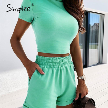 Simplee Sexy Turtleneck Two-piece Women Shorts Set Casual Short Sleeve Tight Female Suits Spring Summer Ladies Top Shorts Set