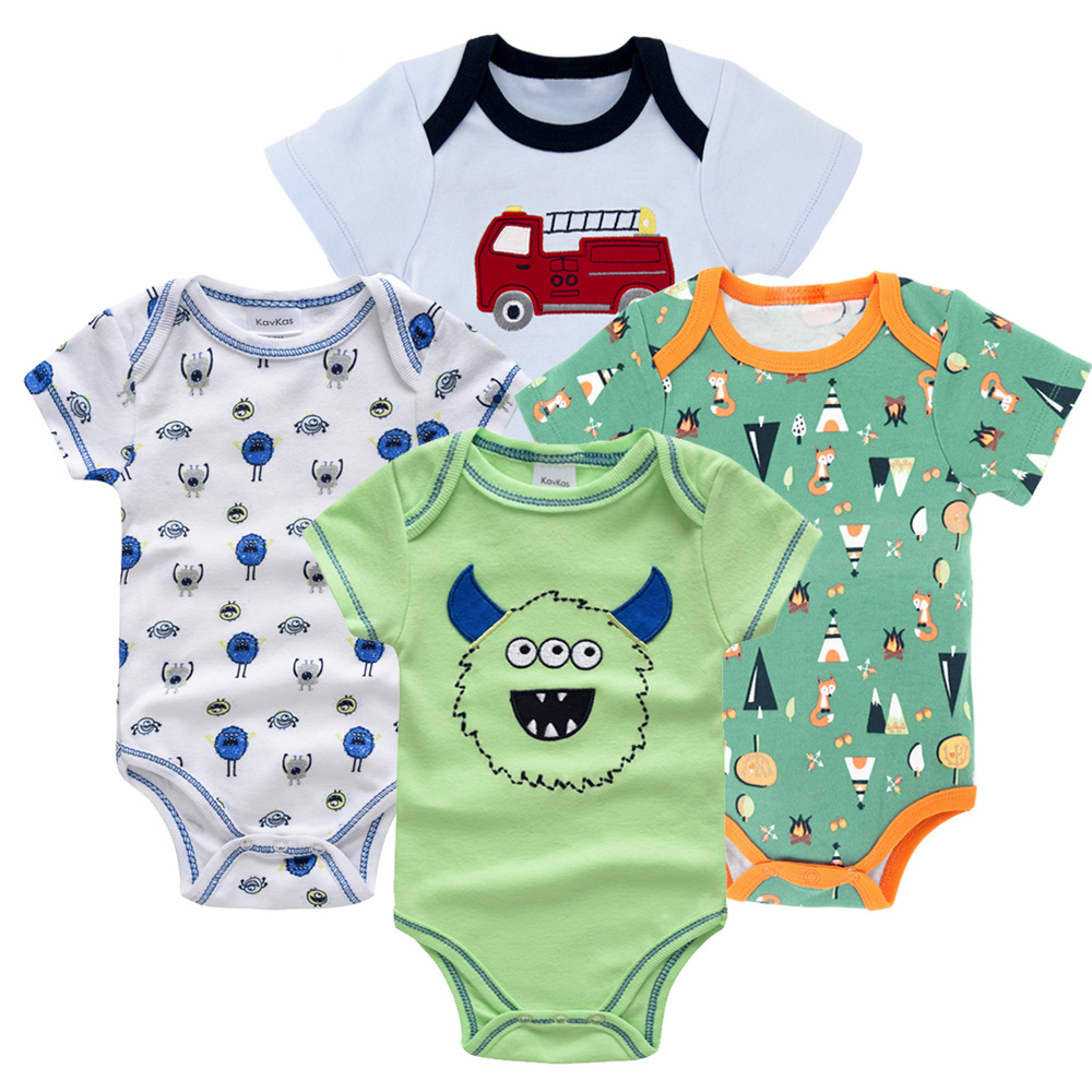 Honeyzone Пижама для младенцев 4 шт./компл. короткий рукав новорожденных Пижама для маленьких мальчиков/младенцев Одежда для маленьких мальчиков bossa nova - Цвет: HY21692172