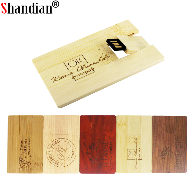 SHANDIAN Fashion Bamboo And Wood Redwood Wood Pendrive Card Model Usb Flash Drive 4GB 16GB 32GB 64GB Free Custom Logo