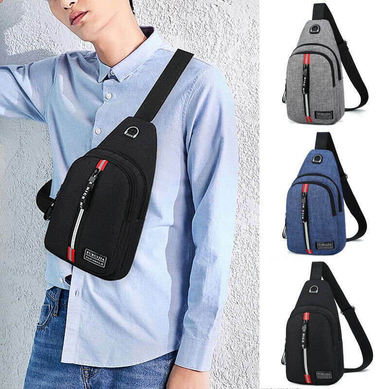 2019 CANIS New Men's Shoulder Bag Sling Chest Oxford USB Charging Sports Crossbody Handbag
