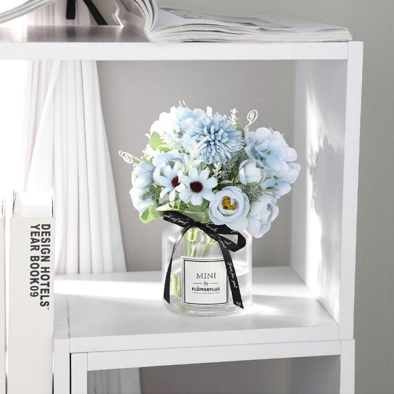Yumai 7 Heads Hydrangea Silk Artificial Flowers Bouquet For Wedding Centerpieces Decor 3