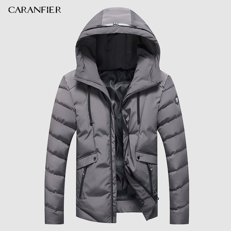 CARANFIER Parka Mens Fashion Men Winter Jacket Coat Hooded Warm Mens Winter Coat Casual Slim Fit Male Overcoat Drop Shipping