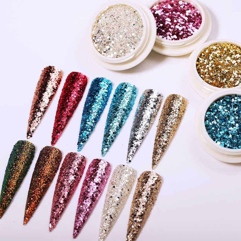 Conjunto de lantejoulas holográficas para unhas, 6 caixas misturadas, glitter, pó flakes, para decoração de unhas de manicure, pontas brilhantes