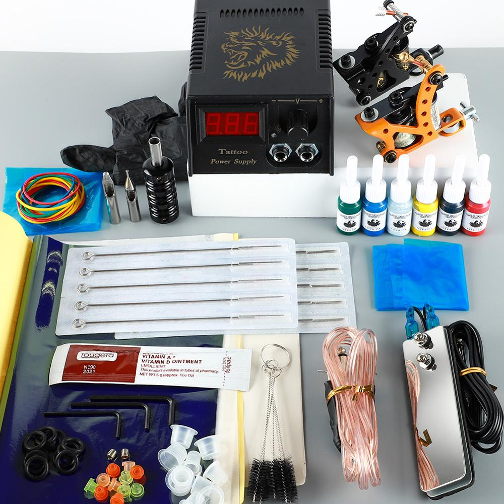 Beginner Tattoo Machine Kit Black Ink Tattoo Accessories LED Power Supplies All For Tattoo Bady Art Tools Lining And Shading Set