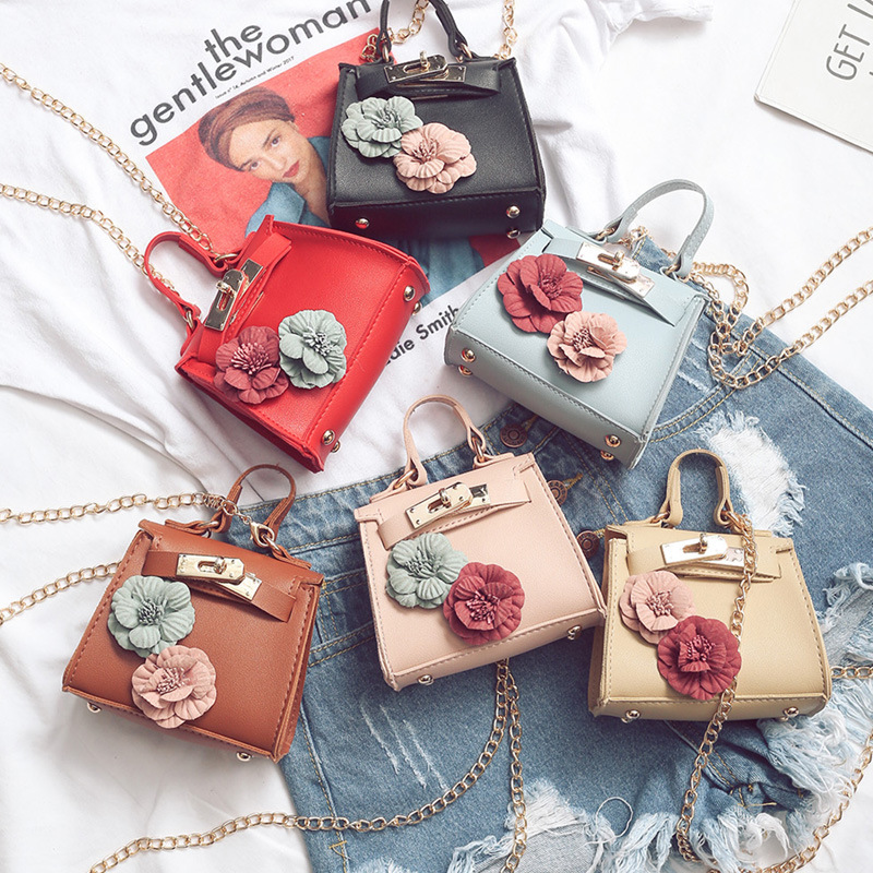 CHILDREN'S Bag Women's New Style Fashion Mini Kelly Bag Flower Handbag Chain Bag Korean-style Shoulder WOMEN'S Bag