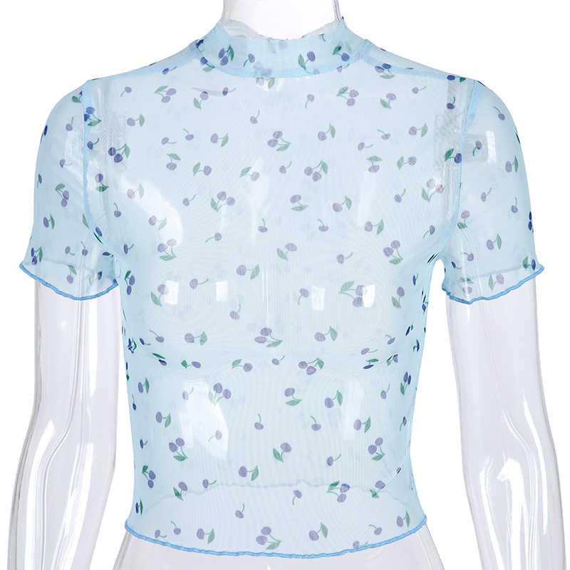 Darlingaga 하라주쿠 체리 프린트 메쉬 탑 투명 반소매 Tshirt 여성 작물 정상 2020 여름 캐주얼 티셔츠 의류 새로운