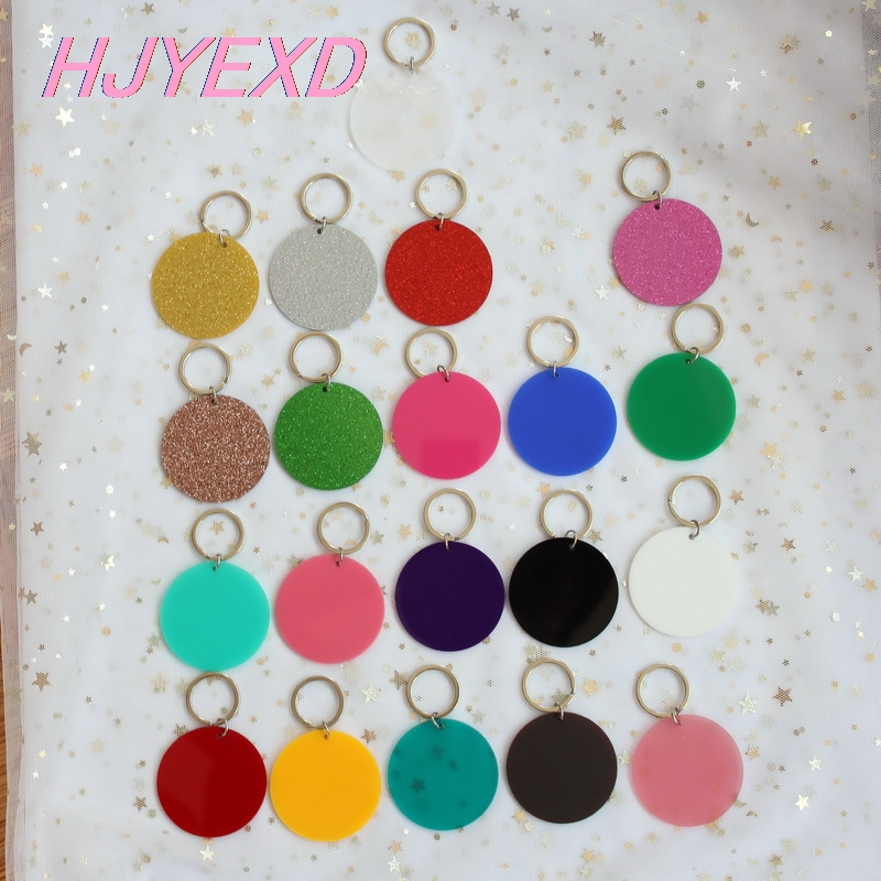 63mm Acrylic Round Keychain With Ring Fog Glitter Clear Blank Black Circle Keychain Monogram 2.5inches  Laser Cut-KC012