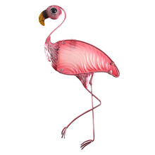 สัตว์ของขวัญโลหะ Flamingo Wall ตกแต่งกลางแจ้งรูปปั้นและประติมากรรมสำหรับตกแต่งสวนกลางแจ้ง Miniatures