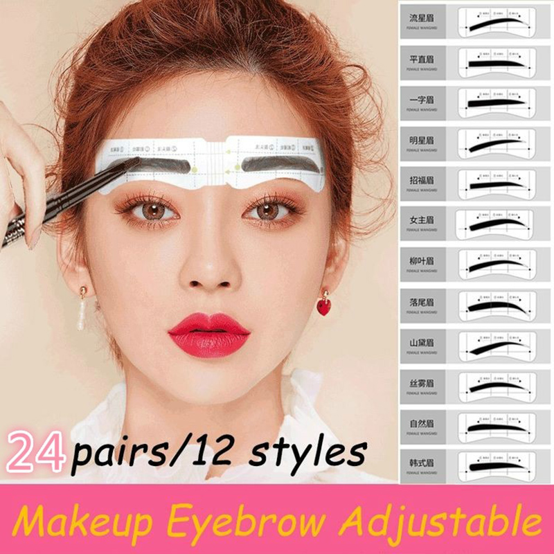 24Pairs/Set Lazy Quick Eyebrow Stickers Eyebrow Card Template Eyebrow Aids Guide Tattoos Makeup Tools Adjustable