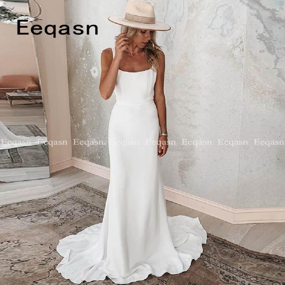 Simple Wedding Dresses 2020 Sheath White Ivory Stretch Satin Boho Backless Wedding Bridal Gowns Vestido De Noiva Plus Size