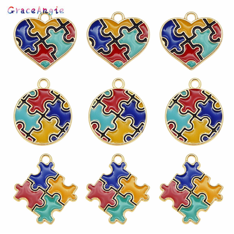 6pcs Colorful Jewelry Making DIY Enamel autism pendant Handmade Craft Puzzle Piece Charms For Bracelet Earrings Cute Gift DIY(China)
