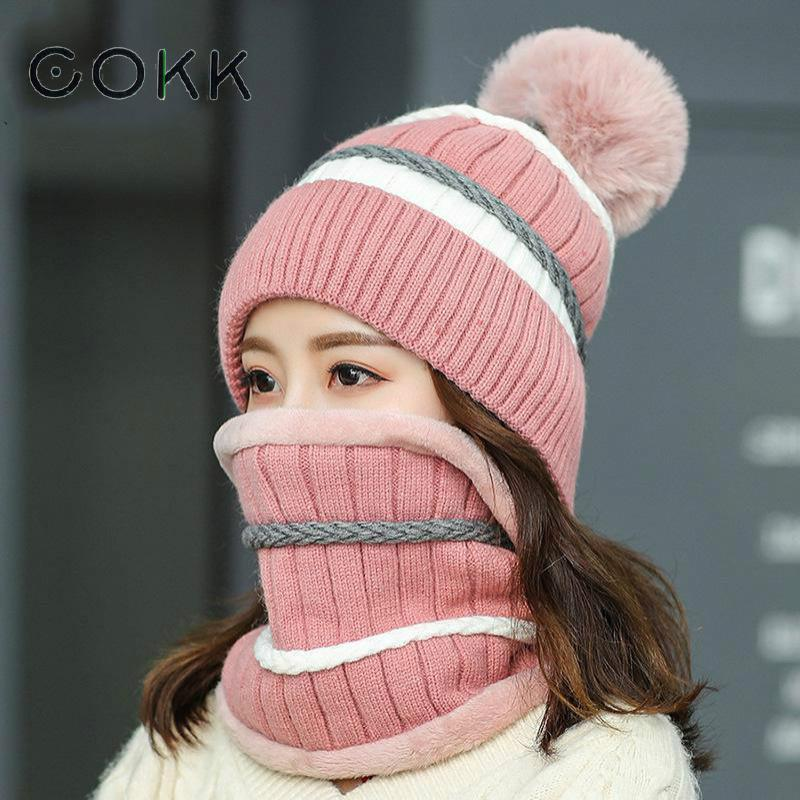 COKK Ladies Hat & Scarf Velvet Thickening Collars Sets For Women Knitted Hat With Pompom Scarf Windproof Thick Keep Warm Beanie