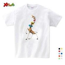 Crianças roupas camiseta 2019 verão novo t camisa dos desenhos animados madagascar girafa melman impressão casual t camisa meninos camisa de natal