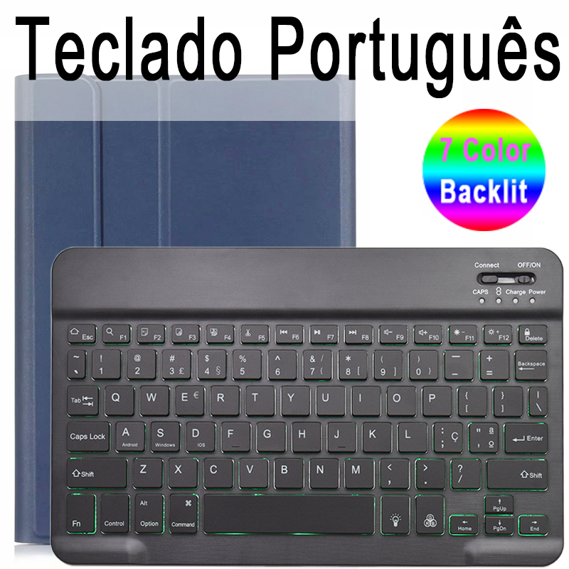 Portuguese Keyboard Palegoldenrod 7 Colors Backlit 3 0 Bluetooth Keyboard Case for iPad 10 2 Keyboard Case for Apple